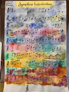 Sheet music on a watercolor background
